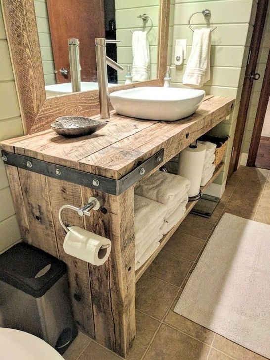 Inspiring Rustic Farmhouse Bathroom Decorating Ideas 05