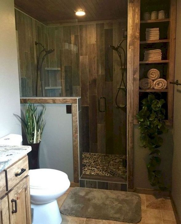 Inspiring Rustic Farmhouse Bathroom Decorating Ideas 10