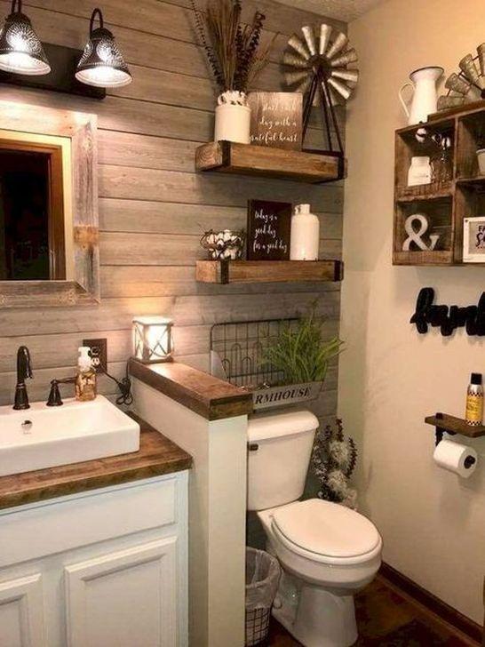 Inspiring Rustic Farmhouse Bathroom Decorating Ideas 13