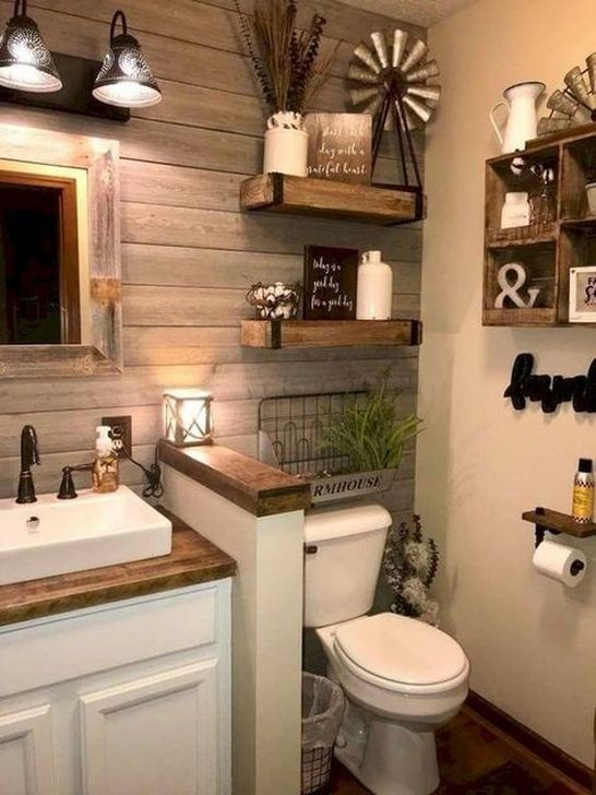 Inspiring Rustic Farmhouse Bathroom Decorating Ideas 13
