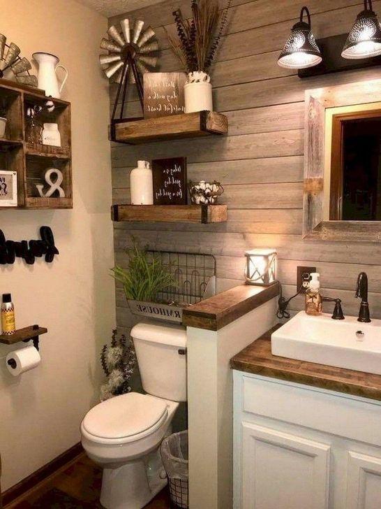 Inspiring Rustic Farmhouse Bathroom Decorating Ideas 34
