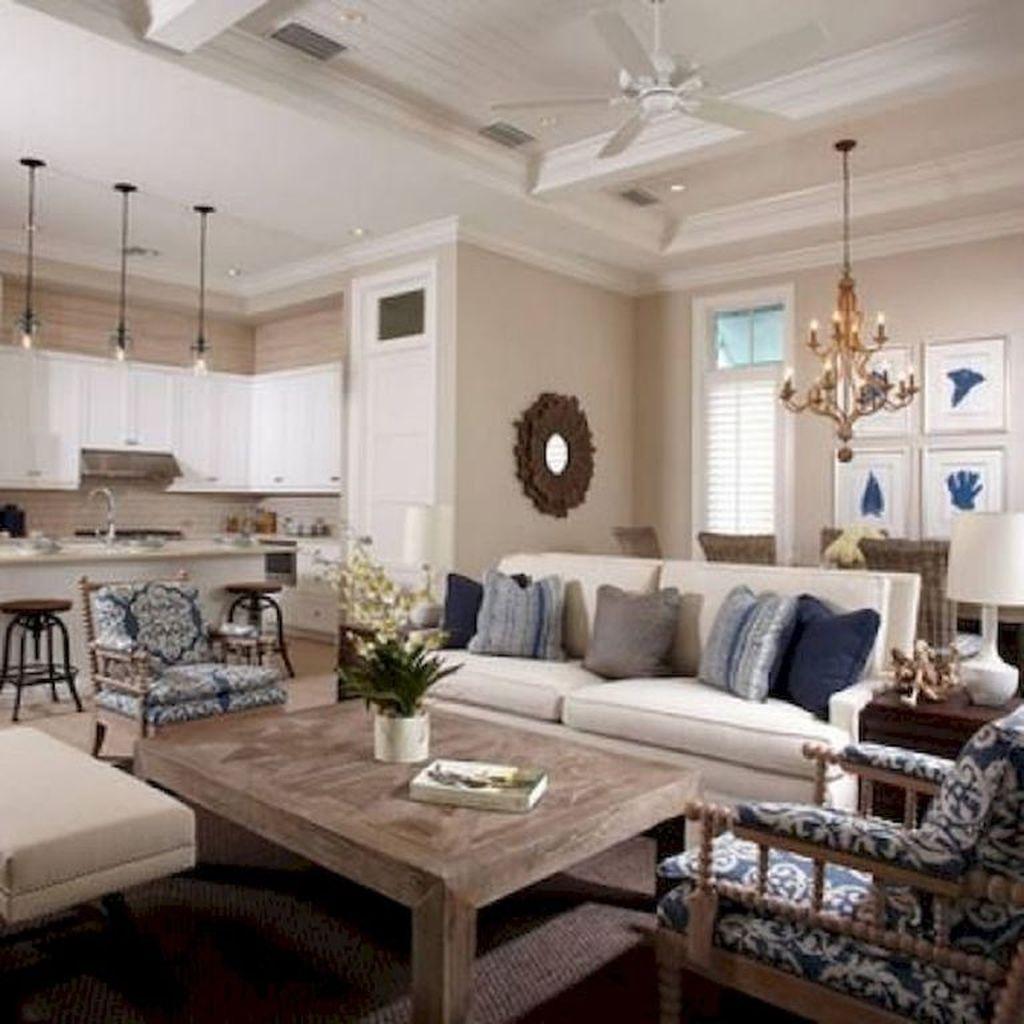 Inspiring Beachy Farmhouse Living Room Decor Ideas 17