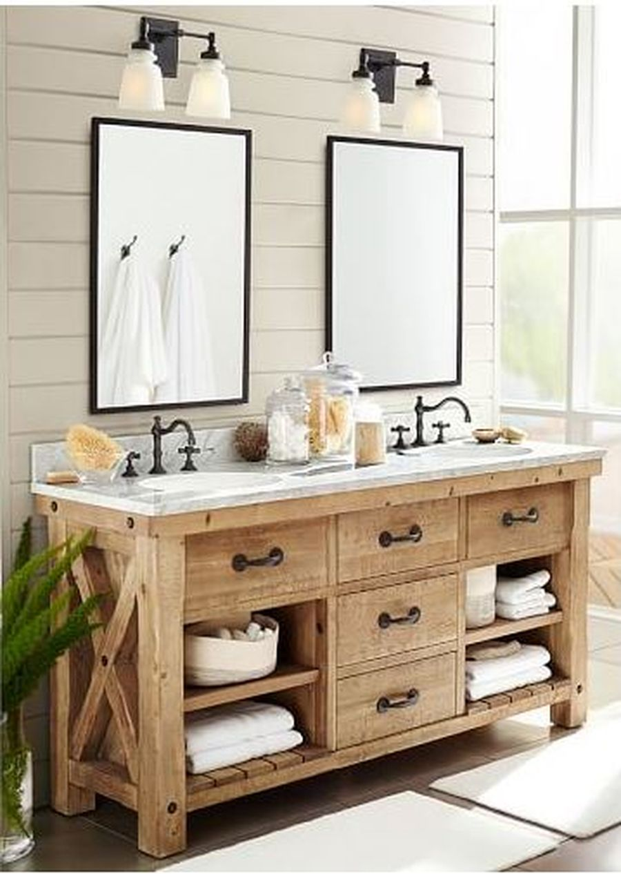 Rustic farmhouse style bathroom design ideas 40 - Hoommy.com on Farmhouse Bathroom Ideas  id=93273
