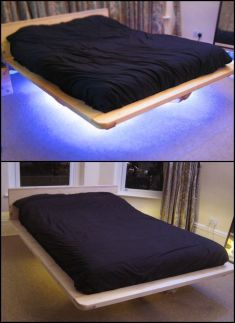 Modern Floating Bed Design with Under Light Ideas 12