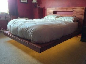Modern Floating Bed Design with Under Light Ideas 16