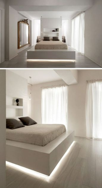 Modern Floating Bed Design with Under Light Ideas 17