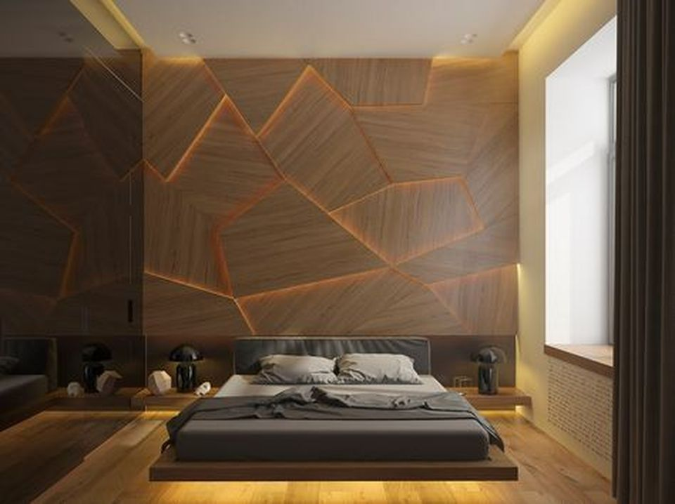Modern Floating Bed Design with Under Light Ideas 3
