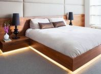 Modern Floating Bed Design with Under Light