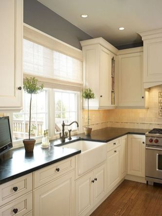 Elegant Kitchen Light Cabinets with Dark Countertops 26