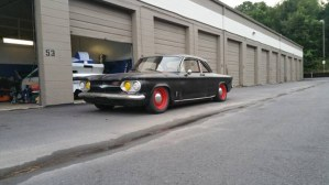 Three quarter front view of Chevy Corvair