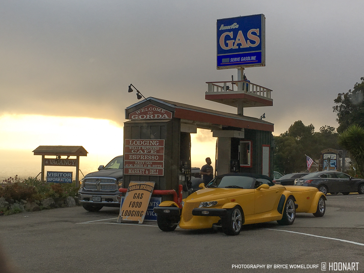 An old Plymouth Prowler stops for gas along the California 1.