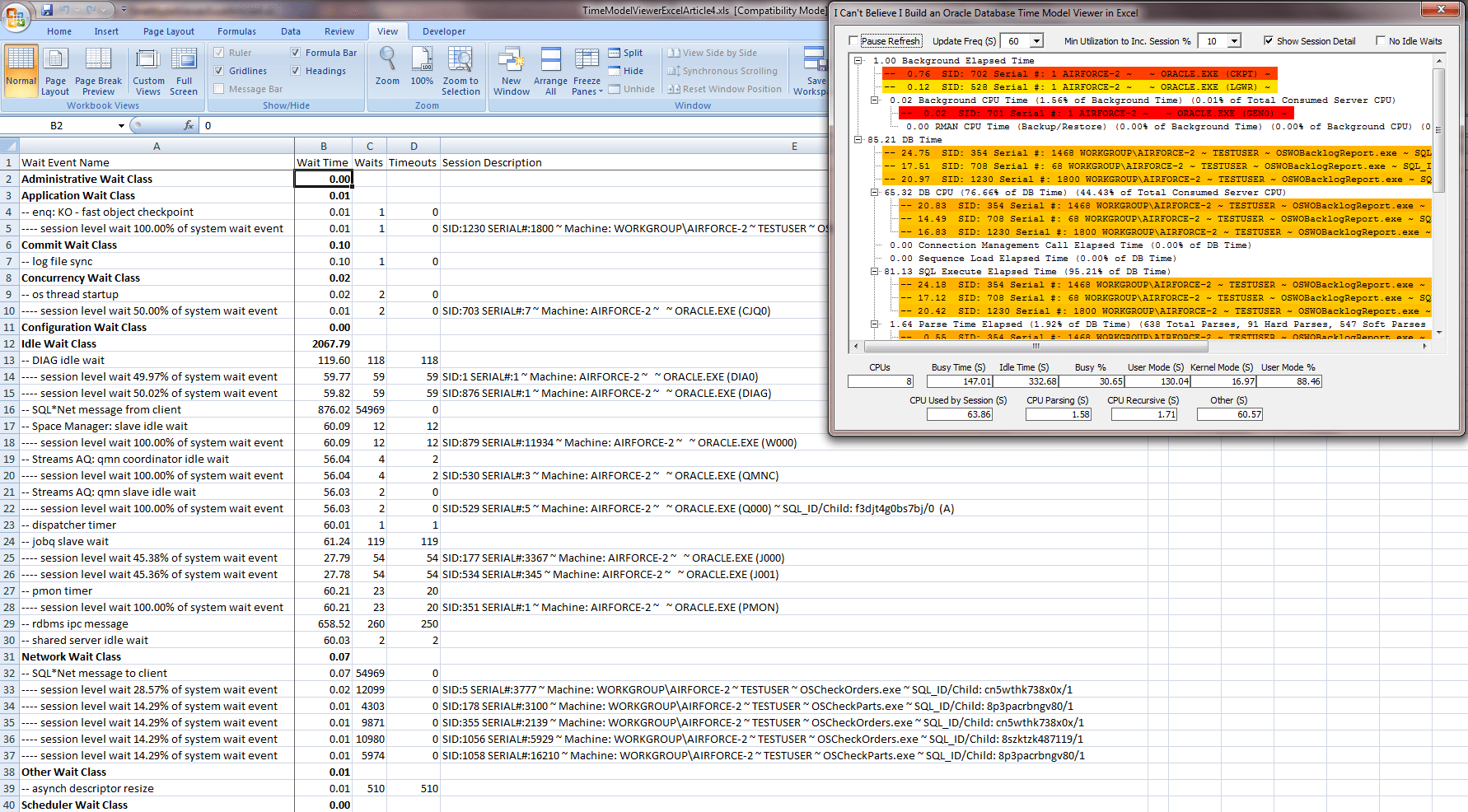 Excel Worksheet Code Window