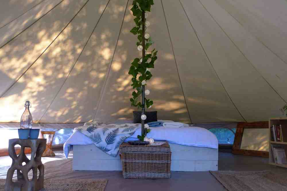 Bell Tent interior decor at Hoopoe Glamping and Adventures