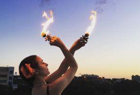 Hawaiian Luau Fire Dancer