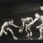 Basketball Players Dribble Defend