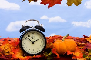 Fall coloured leaves with a black clock on a sky background Fall Leaves