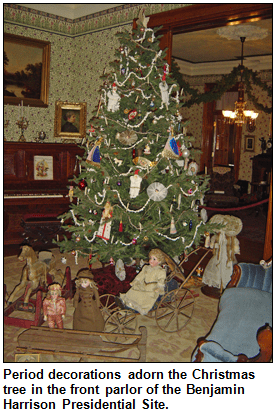 Period Decorations Adorn The Christmas Tree In The Front