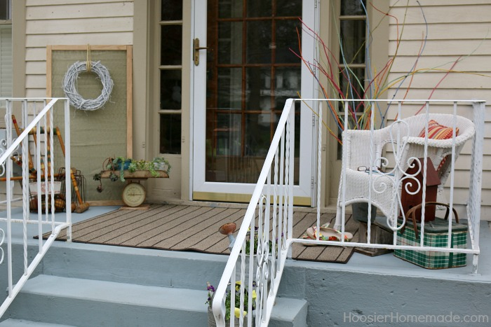 Front Porch Decorating Ideas on a Budget   Hoosier Homemade Front Porch Decorating on a Budget  Beautiful porch paint in a shade of  gray