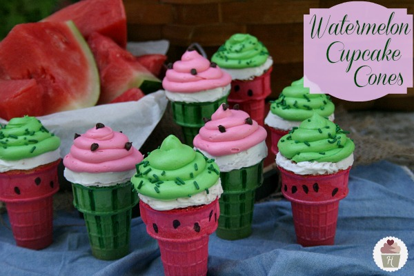 Watermelon Cupcake Cones on HoosierHomemade.com