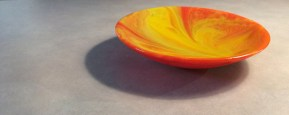 Orange Combed Glass Bowl / Pam Niccum