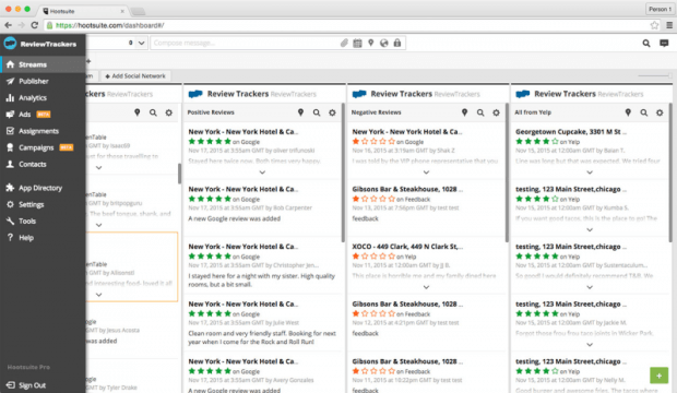 hootsuite review tracker integration dashboard