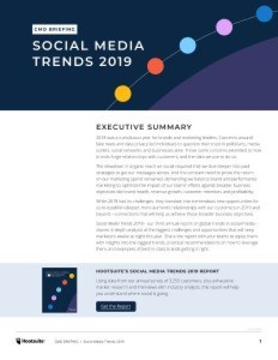 Hootsuite 2019 Social Media Trends Toolkit