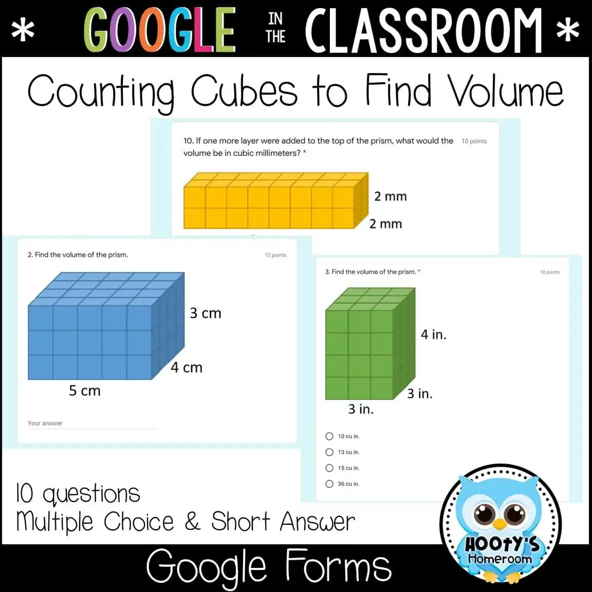 Volume Of Rectangular Prisms Using Forms