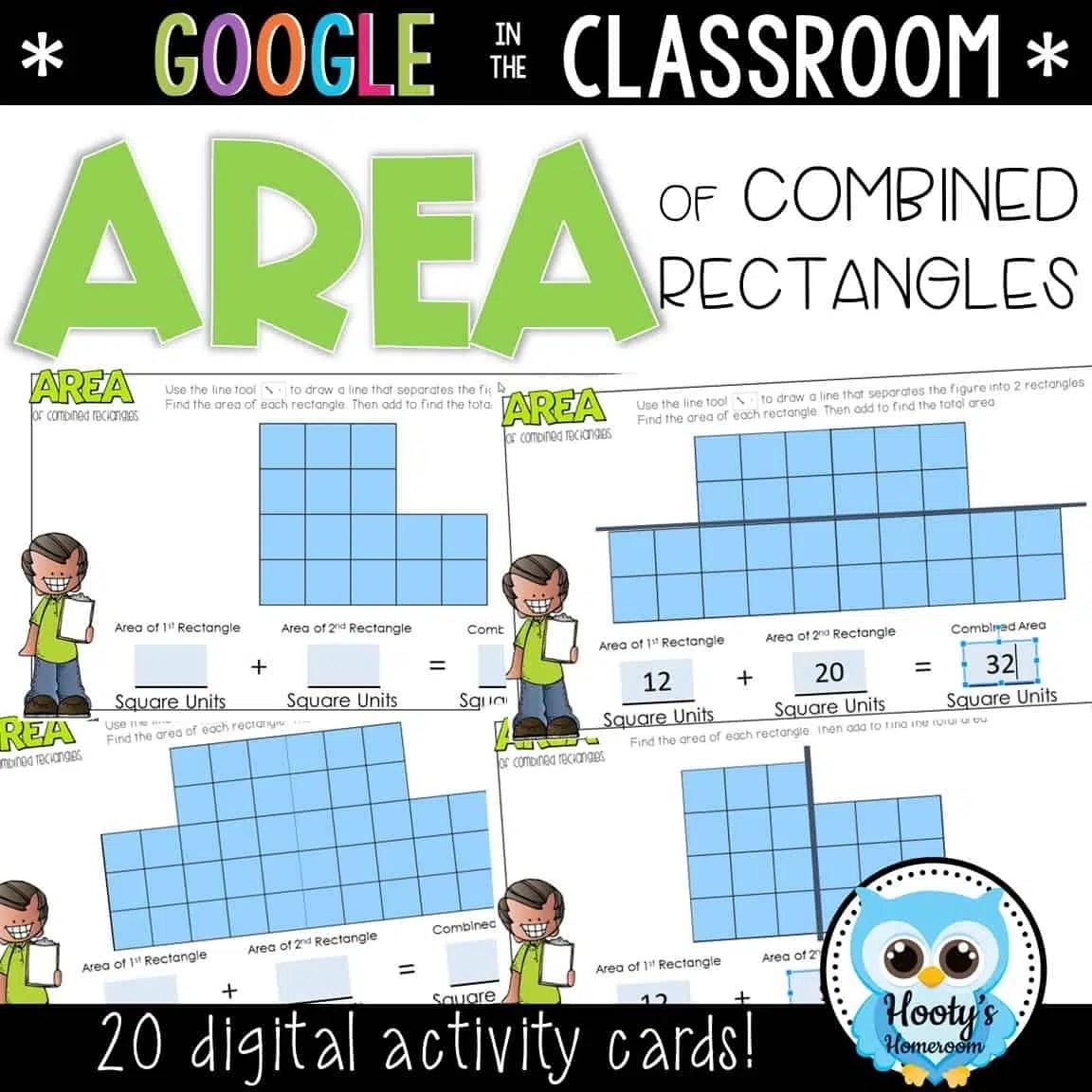 Area Of Composite Rectangles Digital Task Cards