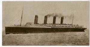 Postcard of the R.M.S Lusitania, ca 1915.