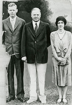 Charles and Anne Lindbergh with President Hoover, August 15, 1930.