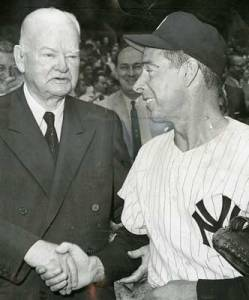 Former president Herbert Hoover with Joe DiMaggio at the Old Timer's Game in 1959 at Yankee Stadium.