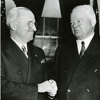 President Truman met with former President Hoover for 45 minutes, discussing the problem of feeding the liberated peoples of Europe.