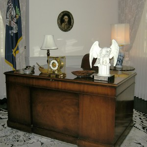 From the Museum gallery, Herbert Hoover's desk as it would have been in his Waldorf Astoria apartment.