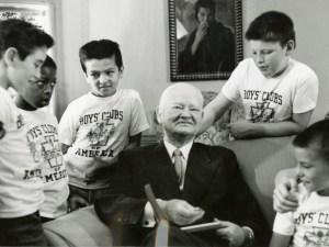 Herbert Hoover and members of the Boys' Club of America, ca. 1956