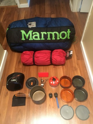 New gear: sleeping bag, tent, stove and cooking supplies