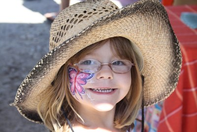 girl with face painting at hopcott farms