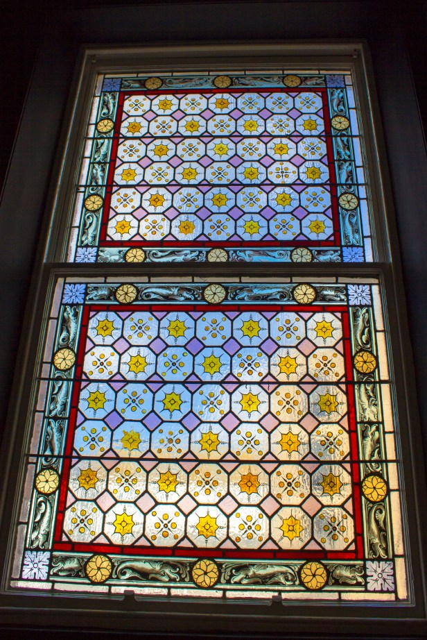 Beautiful stained glass in the hallway