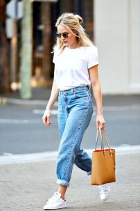 Bloglovin+Blog+Ways+To+Wear+White+Tee+Denim+Looks+Round+Sunglasses+Tucked+In+T-Shirt+High+Waist+Boyfriend+Jeans+Adidas+Sneakers+Camel+Tote+Blogger+Style+Via+Brooke+Testoni