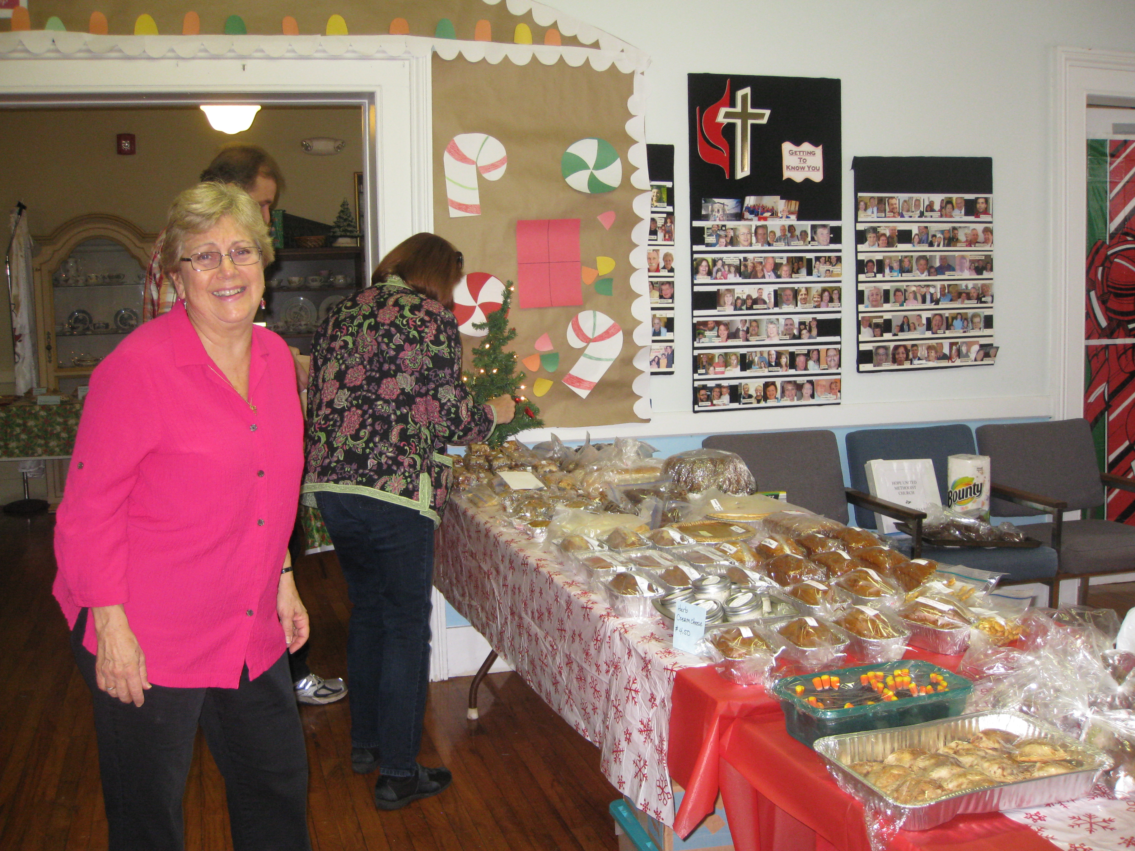 Joan checks out the baked goods