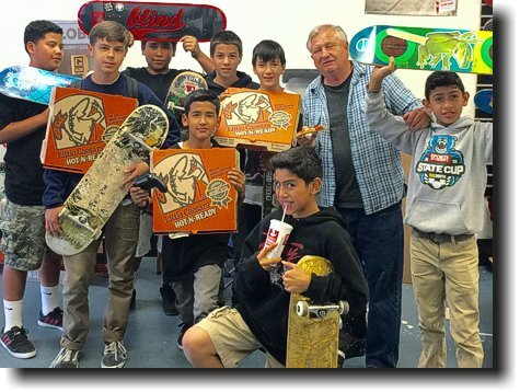 Each Friday night, we buy pizza for the kids at the Sunland skateboard shop