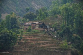 A earthquake hit house near the district of Makwanpur