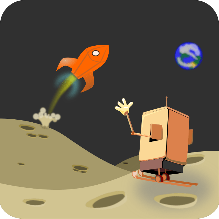 A robot waves goodbye to a rocket leaving the lunar surface. The robot is ready to ski on mountains of moon cheese.