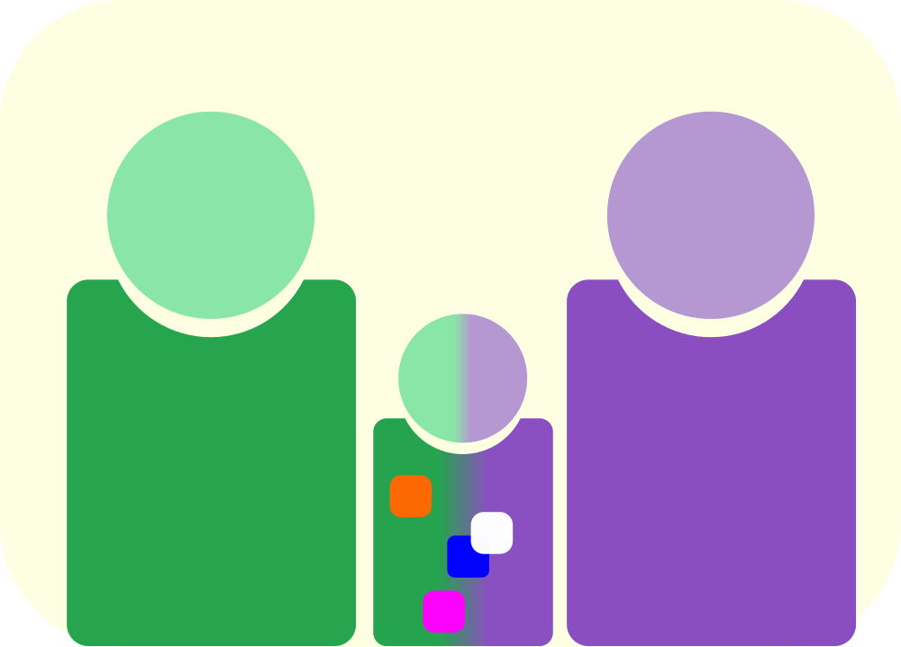 A child is shown between two parents. They are a mix of the two parents but CRISPR has added in some extra genetic information.