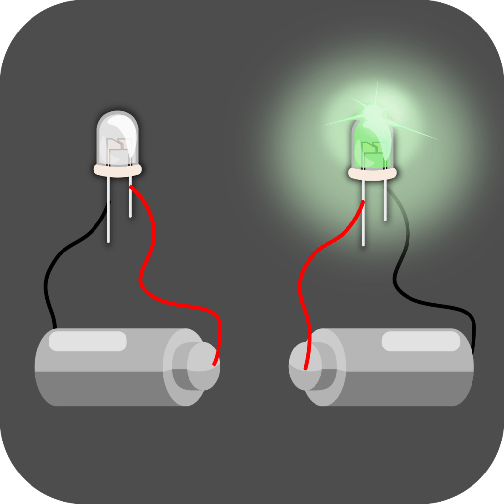 An LED won't work if the long leg of the LED is not connected to the positive terminal of the battery.