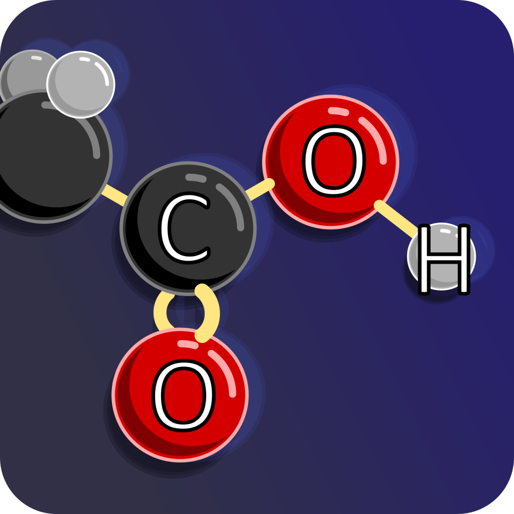 a close up of oxalic acid showing the carboxylic acid group with carbon double bonded to one oxygen, single bonded to  hydroxyl group.