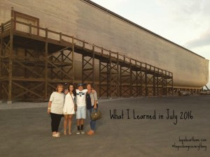 what i learned in july 2016