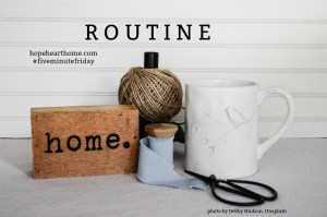 Five Minute Friday: ROUTINE