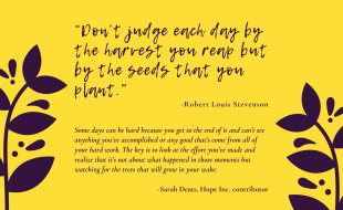 """""""Don't judge each day by the harvest you reap but by the seeds that you plant."""" – Robert Louis Stevenson Some days can be hard because you get to the end of it and can't see anything you've accomplished or any good that's come from all of your hard work. The key is to look at the effort you've made and realize that it's not about what happened in those moments but watching for the trees that will grow in your wake. -Sarah Deats"""