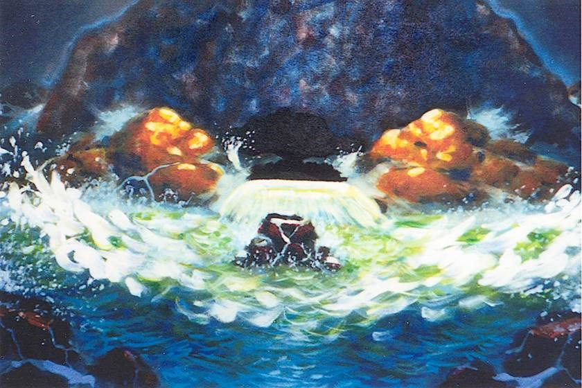 Artistic representation of cave with water crashing on waves