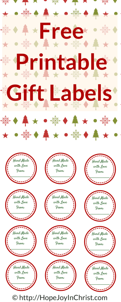 Free Printable Gift Labels Hand Made with Love From_ PinIt (#FreePrintable #ChristmasGift Lables)